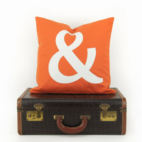 Orange outdoor pillow - Patio decor with ampersand sign - Monogram pillow cover in orange and white - Decorative throw pillows