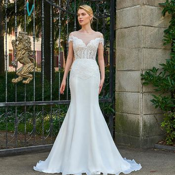 Dressv ivory wedding dress scoop neck mermaid bridal short sleeves outdoor&church button appliques trumpet wedding dresses