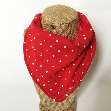 Baby Bandana Bib - Upcycled - Red Polka Dot Bandana Bib - Baby bib - Head Band