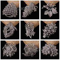 Wholesale Pearls Brooch Rhinestone Crystal Wedding Bridal Bouquet Flower Pin 1pc