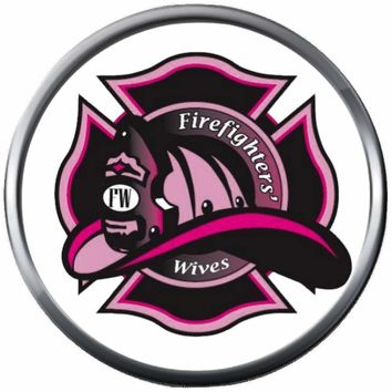 Pink Maltese Helmet Firefighter Wife Thin Red Line Courage Under Fire 18MM-20MM Snap Charm Jewelry New Item