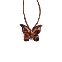 Wood Pendant Necklace, Wood Jewelry, Wood Butterfly Pendant, Hand Carved Pendant, Wooden Jewelry, Wood Carved Pendant, Butterfly Necklace