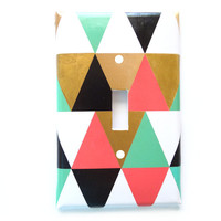 Geometric Switchplate Cover - Triangles - Kelly Coral Gold Black - Single Switchplate - Rocker Cover - Electrical Outlet Cover