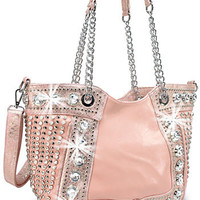 * Peach Rhinestone and Stud Accented Metallic Fashion Handbag