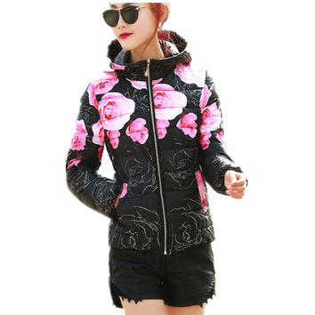 Women Winter Coat Long Sleeve Print Floral Hooded Slim Winter  Plus Size Cotton-Padded Jackets