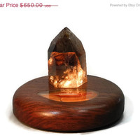 40% off sale - Smokey quartz crystal lamp in handmade mahogany base with illuminated agate slice