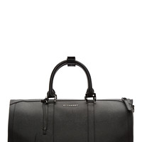 Burberry London Black Grained Leather Boston Holdall Duffle Bag