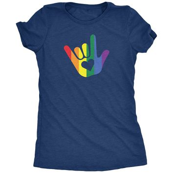ASL I Love You Gay Pride Sign Language Women's T-Shirt