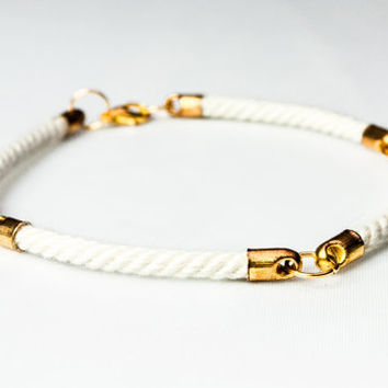 Four quarter nautical rope bracelet - White