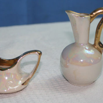 Vintage Decor Pieces Pearl Colored With Gold Trim on Handles and Rims,Castawayacres