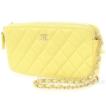 CHANEL Chain Wallet Matelasse Lambskin Yellow CC A82527 Italy Authentic 4422570