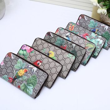 """Gucci"" Women Purse Fashion Bird Flower Print Zip Long Section Wallet Handbag"