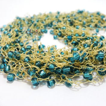 Beige and Turquoise Necklace, Crochet Necklace, Silk Necklace, Beaded Necklace, Seed Beads Necklace, Blue Necklace