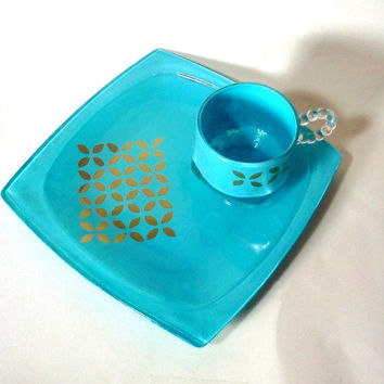 Cerulean, Gold, Vanity Tray, Jewelry Tray, Makeup Tray, Geometric Print, Makeup Vanity, Jewelry Display, Glass Tray, Aqua, Jewelry Dish