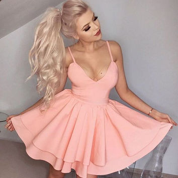 Baby Pink Deep V Neck Homecoming Dress, Simple A Line Short Summer Strapless Homecoming Dress