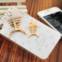1PC Bling Crystal Fishes Mother and Sun Rhinestone Plastic Hard Back Case Cover Skin for iPhone 4,4g,4s,5,5c,5s