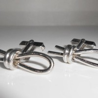 Swank Sterling Cuff Links Cotter Pin Rope Loop 1960's Cufflinks
