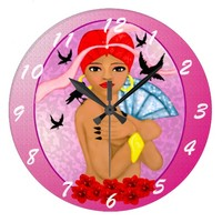 Black Goddess illustration Large Clock