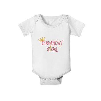 Birthday Girl - Princess Crown and Wand Baby Romper Bodysuit by TooLoud