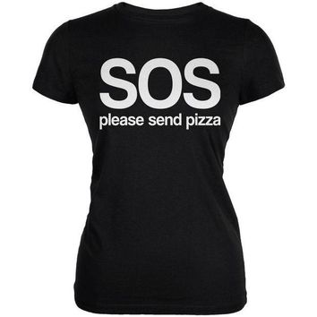 PEAPGQ9 SOS Please Send Pizza Juniors Soft T Shirt