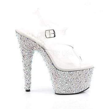 Bejeweled 708 MS Silver Rhinestone Platform Clear Strap Shoe 7