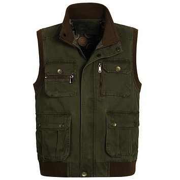 Clothes Men Work Vest Vests of Men Outwear Multi Pocket Vest