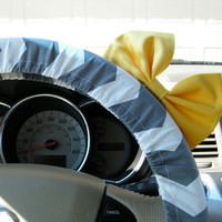 Grey and White Chevron Steering Wheel Cover with Matching Yellow Bow