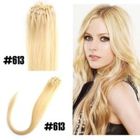"Yesurprise 100s 18"" Easy Loop Micro Ring Real Straight Human Hair Extensions 0.5g/s #613 Bleach Blonde:Amazon:Beauty"
