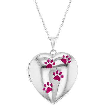 My Dog Paw Prints Love Heart Photo Locket Girls Pendant Necklace 19""