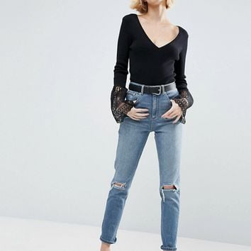 ASOS FARLEIGH High Waist Slim Mom Jeans in Prince Wash With Busted Knees at asos.com
