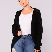 Aubree Lace Up Cardigan - Black