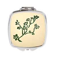 Floral Compact Mirror - FREE shipping to USA Green Stencil Flowers beige cute art artsy girly pocket mirrors silver small square git ideas