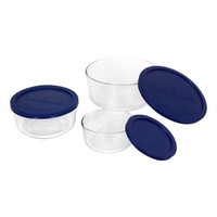 6 Piece Round Glass Food Storage Set With Blue Lids - Made In USA