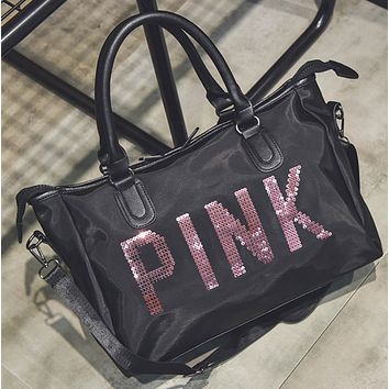 Victoria Pink Trending Fashion Casual Women Men Travel bag Carry-on bag luggage Tote Handbag Black G