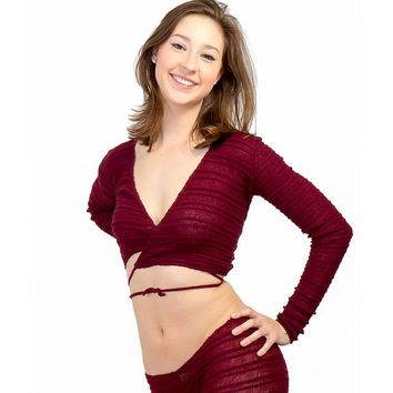 String Tie Wrap Top Mesh Shadow Stripe Dancewear by KD dance Made In USA