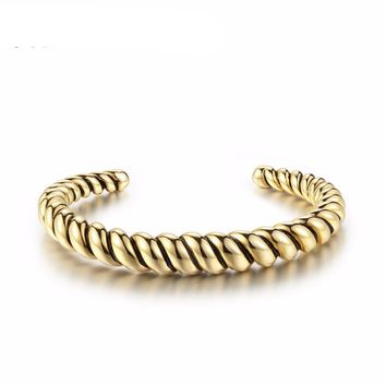 New Gold/ Antique Silver Plated Copper Cuff Bangle Twisted Bracelets & Bangles Fashion Jewelry
