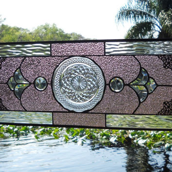 Stained Glass Panel Window wirh Recycled Vintage 1960s Anchor Hocking Wexford Plate