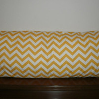FREE DOMESTIC SHIPPING Decorative Body Pillow Cover - 20 X 54 inch Yellow and White Zigzag