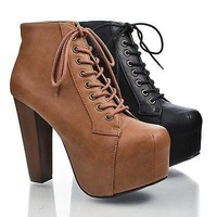 Rosa Black By Speed Limit 98, Cap Toe Lace Up Platform Ankle High Block Heel Bootie Sandal