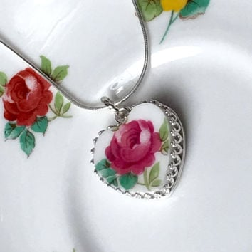 Broken China Necklace, Pendant Necklace, Sterling Silver Necklace, Heart Jewelry, Vintage China, Birthday Gift for Her, Victorian Pink Rose