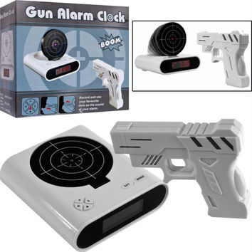 Gun & Target Recordable Alarm Clock by Trademark Games?