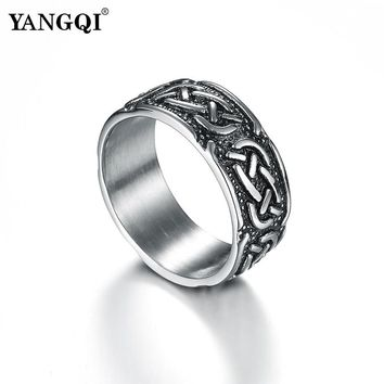 YANGQI Antique Silver Stainless Steel Ring for Men Mysterious Symbol Engraving Biker Ring Wedding Band Vintage Steampunk Jewelry