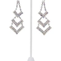 Dangling Earring with Chevron Shape and Stones