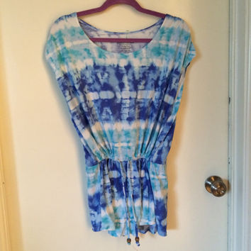 Tiedye blue blouse with elastic waste band