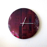 Cottage Chic Clock, Red Clock, Unique Clock, Home and Living, Decor and Housewares, Wall Clock,  Eco Home
