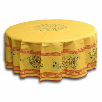 "French Floral Provencal Acrylic Coated Cotton Tablecloth Olive Yellow 71"" Round"