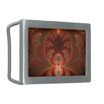 Luminous abstract modern orange red Fractal Belt Buckle