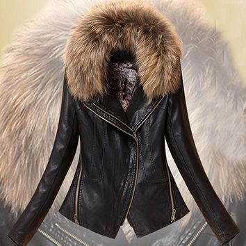 Spring  leather women Slim leather leather jacket leather jacket women short paragraph tide with detachable fur collar 138