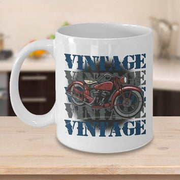 Vintage Motorcycle Coffee Mug, 11oz White, Antique Motorcycle Cup, Motorcycle Mug, Motorbike Mugs, Biker Gift, Motorcycle Present