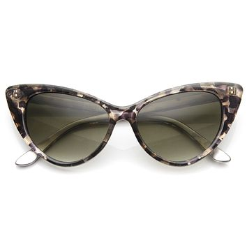 Womens Retro Mod 1950's Version Hot Tip Pointed Cat Eye Sunglasses 9145